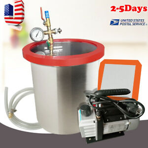 5 Gallon Stainless Steel Vacuum Degassing Chamber Silicone Kit W 3 Cfm Pump Hose