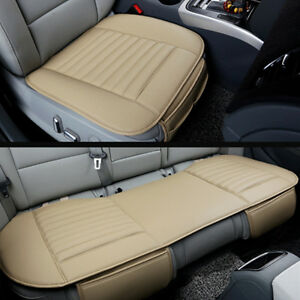 Car Front Back Seat Pad Cushion Soft Faux Leather Breathable Protect Cover Mat