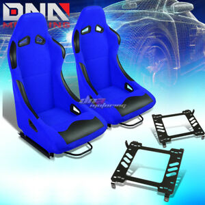 Pair Black blue Cloth Bucket Type r Racing Seat bracket Fit 05 14 Ford Mustang