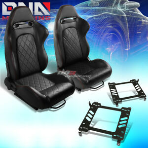 2x Black Pvc Reclinable Quited Stitch Racing Seat bracket Fit 05 14 Ford Mustang