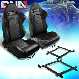 Pair Of Black Pvc Quited Stitch Racing Seat low Mount Bracket Fit 99 04 Mustang