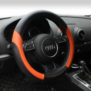 15 Pu Leather Car Steering Wheel Cover Sedan Universal Fit Protection M Orange