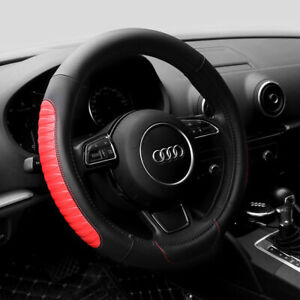 15 Pu Leather Car Steering Wheel Cover Sedan Universal Fit Protection M Red