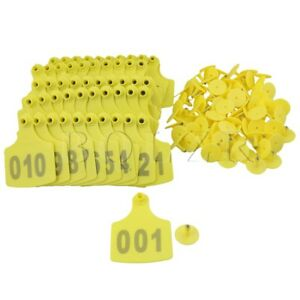 100x Bqlzr Number 001 100 Plastic 10x7 3cm Ear Tag For Sheep Cow Yellow