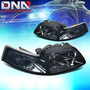 For Ford Mustang 1999 2004 Gt cobra Euro Smoke Housing Clear Corner Headlights
