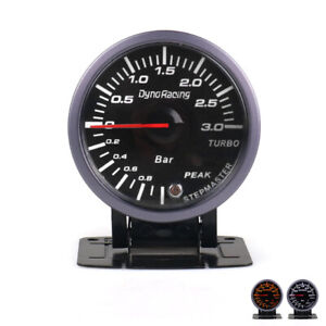 60mm Led Pointer Turbo Boost Gauge Bar Meter Black 12v 0 3bar Vacuum Press Meter