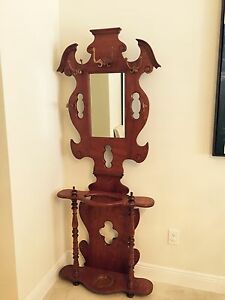 Antique Oak Hall Tree Mirror Hat Rack Umbrella Stand Foyer Entry Way Stand