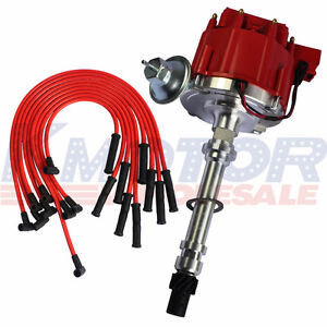 10 5mm Red 90 Spark Plug Wires And Distributor For Sbc Bbc 350 305 454 V8 S Hei