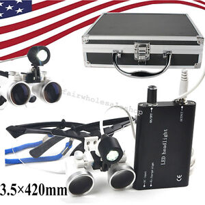 Led Headlight 3 5x 420 Dental Loupes Lab Surgical Medical Glasses portable Box