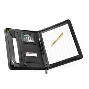 Bonded Leather A4 Zip Conference Folder With Calculator