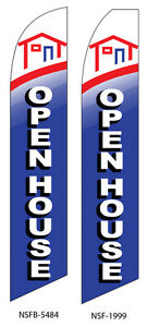 Two Open House 2 15 Foot Swooper Feather Flag Sign