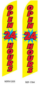 Two Open 24 Hours yellow 15 Foot Swooper Feather Flag Sign