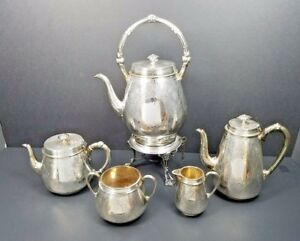 Creswick Sheffield Set Silver Plate Antique England Kettle Tea Coffee Service