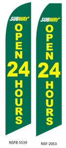 Two Subway Open 24 Hours 15 Foot Swooper Feather Flag Sign