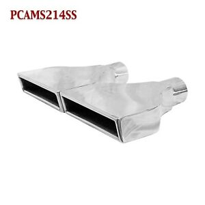 Pcams214ss Pair 2 25 Stainless Rectangle Exhaust Tip 2 1 4 Inlet 8 Outlet