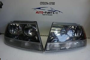 2001 2004 Jeep Grand Cherokee Laredo Rh Lh Set Headlight Oem Black Chrome