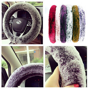38cm Car Non Slip Steering Wheel Cover Good Smooth Handfeel Imitation Rabbit Fur