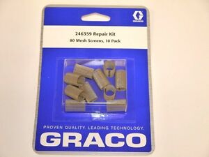 Original Graco Fusion Air Purge Ap Gun 246359 Screens 80 Mesh 10 Pack