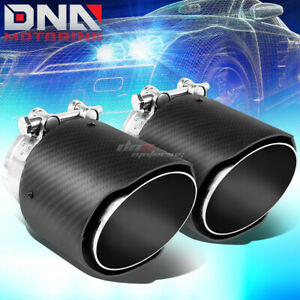 Pair 2 5 Inlet 4 Slant Outlet Carbon Fiber Pattern Racing Muffler Exhaust Tip