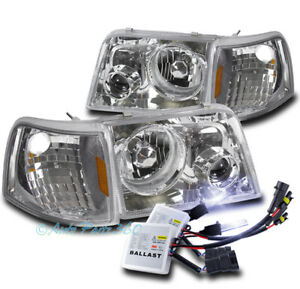 93 97 Ford Ranger Chrome Head Lights projector Fog Lamps W corner Signal 10k Hid