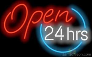 Open 24 Hours Neon Sign Supersized Diner Coffee Gas Station Fast Food Jantec