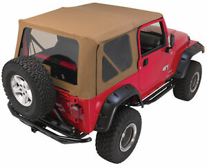 97 06 Jeep Wrangler Soft Top Canvas Front Upper Doors 3 Rear Windows Tj Spice