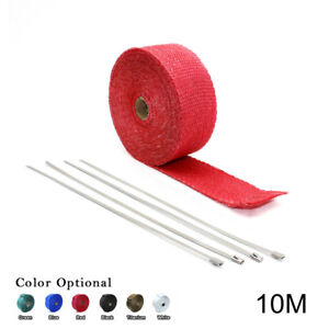 2 33ft Roll Red Fiberglass Exhaust Header Pipe Heat Wrap Tape 4 Ties Kit 10m