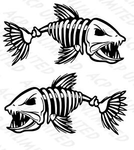 2 Skeleton Fish Bone Boat Decals Large Fishing Graphic Sticker Shark Salt Skiff
