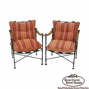 Hand Forged Steel Frame Wood Frame Reclining Arm Chairs