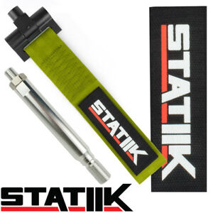 Statiik Olive Green Towing Strap Front Bumper Racing Style Tow Hook Wrx 16x1 5