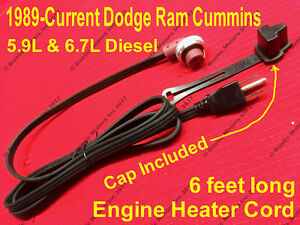 Dodge Ram Cummins 5 9 6 7 Diesel Block Heater Cord Cable Cabel 1989 2019 W Cap