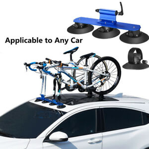 1x Blue Bicycle Bike Racks Suction Universal Car Rack Carrier Roof Sunroof Rack