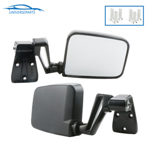 Pair Manual Passenger Driver Side Door Towing Mirror For Jeep Wrangler 1987 2002