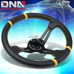 350mm Black Yellow 3 5 Deep Dish Racing Steering Wheel Fit 70mm 6 bolt Adapter