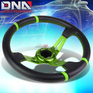 350mm Green Stripes 3 5 deep Dish Racing Steering Wheel Fit 70mm 6 bolt Adapter