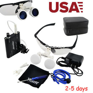 Usa 2 5x Dental Surgical Medical Binocular Loupes 420mm Head Light Lamp Case Kit