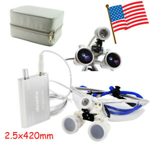 Silver Case Dental Surgical Medical Binocular Loupes 2 5x 420 Led Head Light