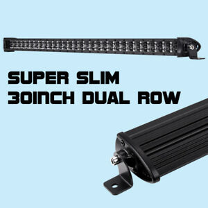 30inch Cree Single Row Super Slim Led Light Bar Spot Combo Driving For Jeep Ford