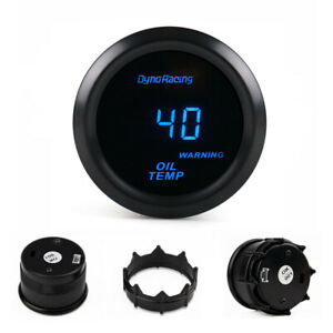 Universal 2 52mm Oil Temperature Gauge Blue Digital Led Oil Temp Meter Tinted