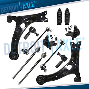 For Fwd 2003 2008 Matrix Vibe 12pc Front Lower Control Arms Tie Rods Sway Bars