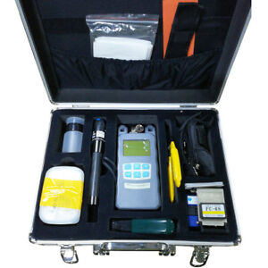 Fiber Optical Ftth Tool Kit w Power Meter Cleaver Visual Finder Aluminum Box