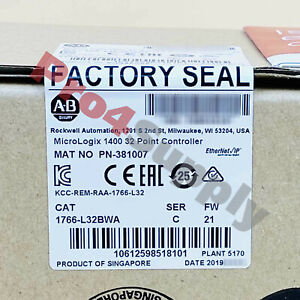 2018 Us Stock Allen bradley Micrologix 1400 32 Point Controller 1766 l32bwa