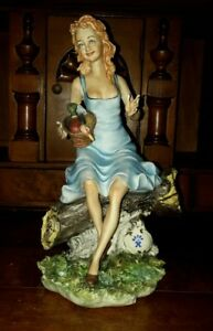 Capodimonte Porcelain Figurine Of Woman In Blue Dress With Duck