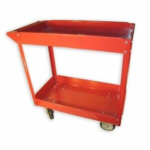 New Red Service Cart Tool Air Compressor Storage Rolling Metal Heavy Duty Tools