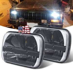 Pair 7x6 5x7 Led Hi Lo Sealed Beam Headlights For Ford Jeep Cherokee Xj Truck