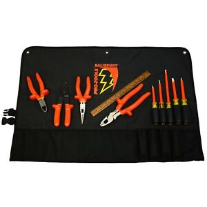 Briefly Used Salisbury Pro tools 9 piece Insulated Tool Set Mo Tk9 Roll pouch