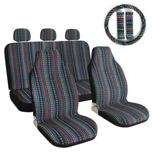 Baja Car Seat Covers 10pcs Universal Set For Auto W Steering Wheel Head Rest