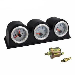 2 52mm Car Triple Gauge Kit 3in1 Tachometer Rpm Water Temp Oil Pressure Gauge