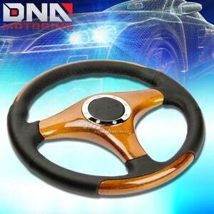 Nrg St 055 Stlying 350mm 6 Bolts Aluminum Spokes Leather Wood Steering Wheel