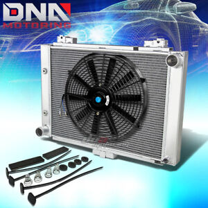 For 1964 Ford Galaxie 500 3 row Tri Core Aluminum Racing Radiator 16 slim Fan